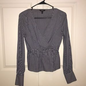 Express blue & white striped elastic gathered top